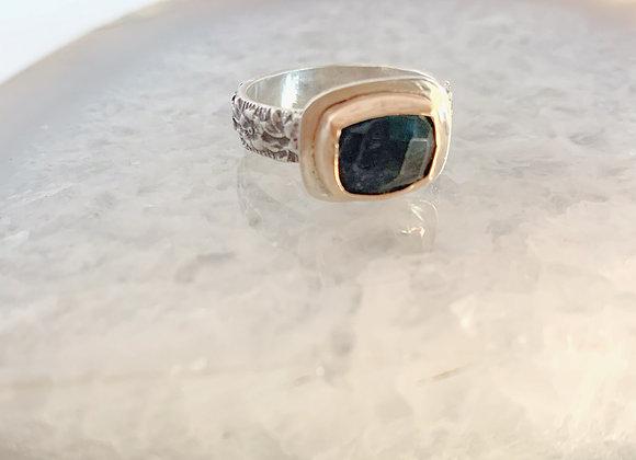 Mixed Metal Blue Tourmaline Ring
