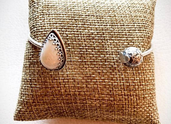 White Crystal Opal Front Cuff Bracelet