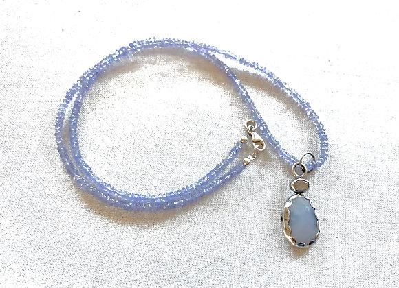 Chalcedony, Rainbow Moonstone & Tanzanite Necklace
