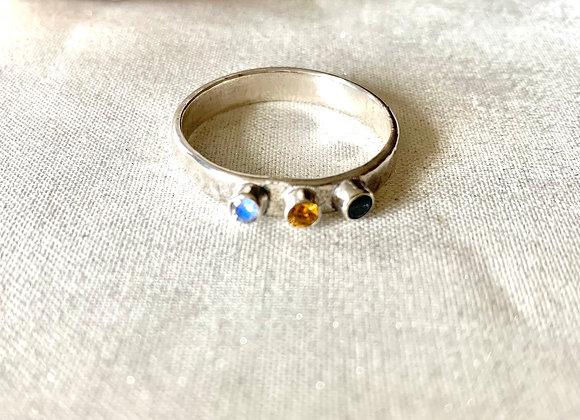 Triple Gemstone Ring