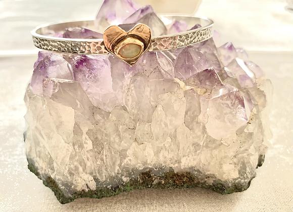 Opal Heart Cuff Bracelet