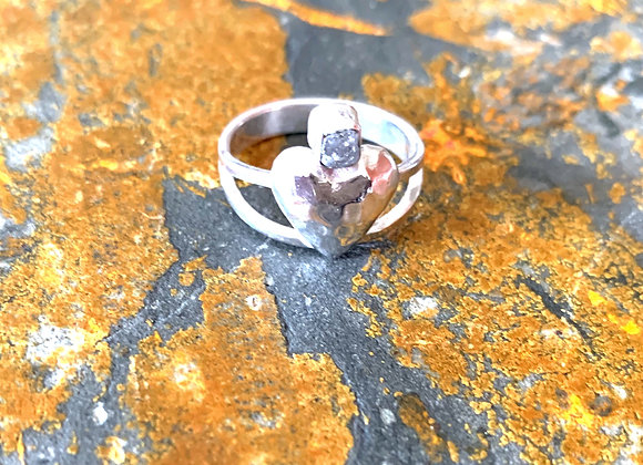 Puffy Heart & Raw Diamond Ring