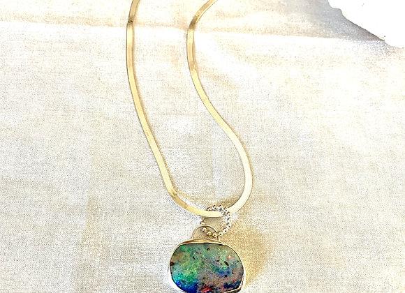 Vibrant Australian Boulder Opal Necklace