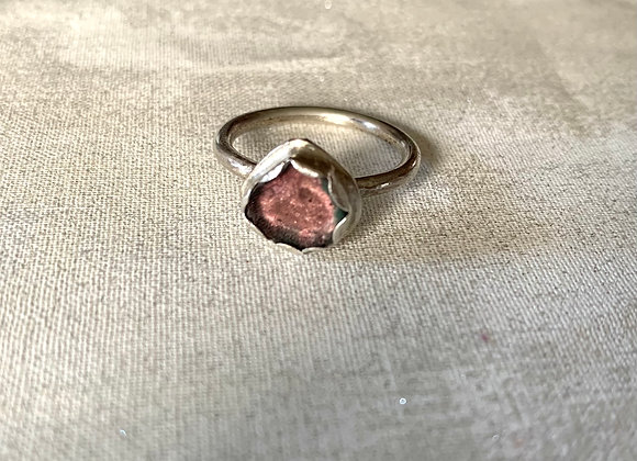 Watermelon Tourmaline slice gemstone ring