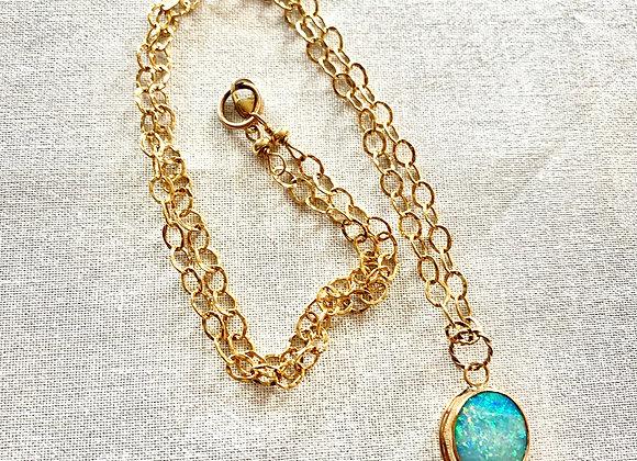14 KT Yellow Gold Filled Australian Boulder Opal Necklace