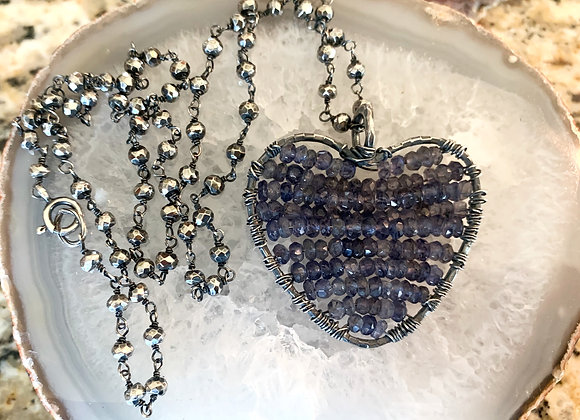Iolite & Silver Pyrite Big Heart Necklace
