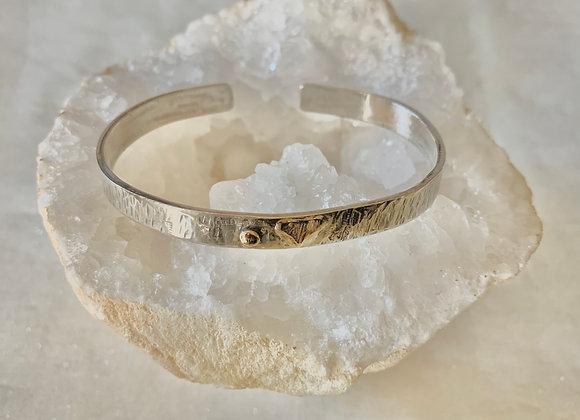 Gold & Silver Heart Cuff Bracelet