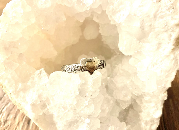 14 KT Yellow Gold & Sterling Silver Heart Ring
