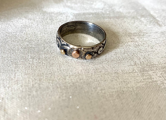 Gold & Sterling Silver Floral Ring
