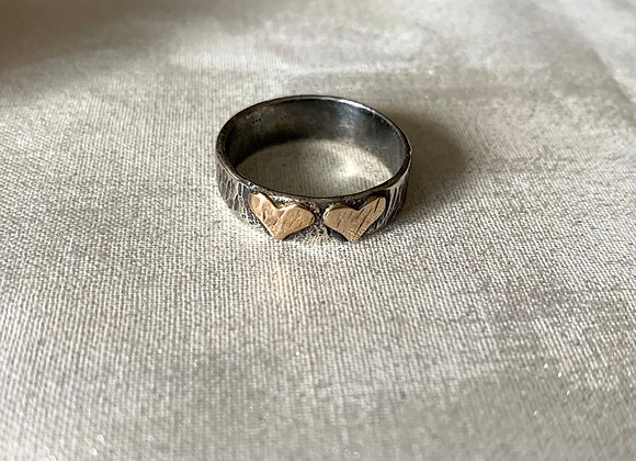Double Heart Gold & Silver Ring