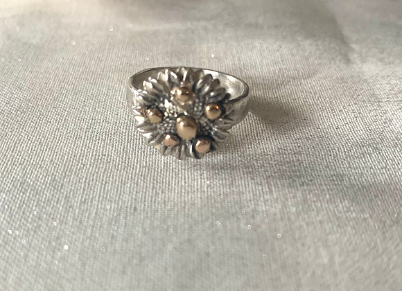 Mixed Metal Sunflower Ring