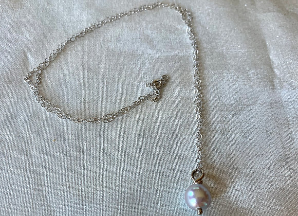 14 KT White Gold Akoya Pearl Necklace