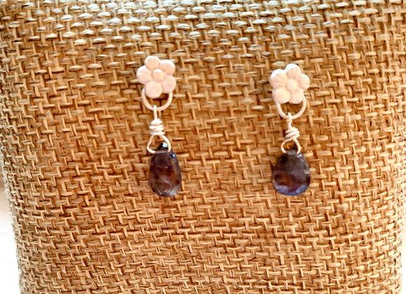 Iolite Flower Earrings