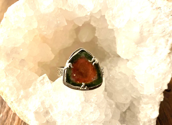 Large Watermelon Tourmaline Slice ring