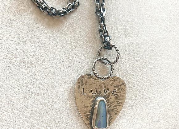 Love Tahoe Australian Boulder Opal Heart Necklace
