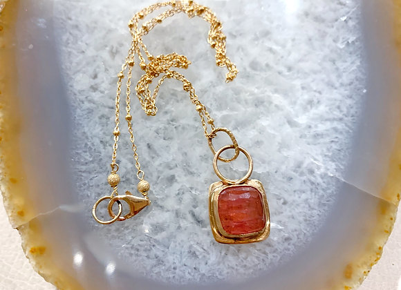 Pink Tourmaline Gold Filled Necklace