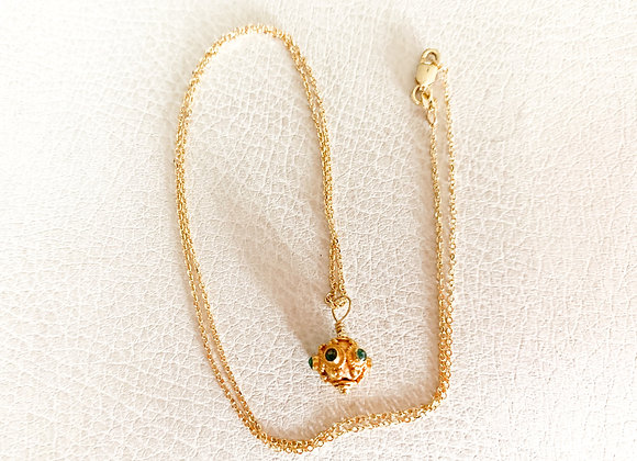 18 KT Yellow Gold Chrome Diopside Necklace