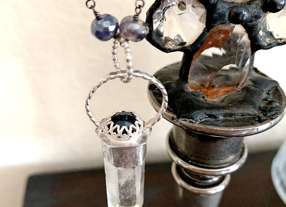 Quartz Crystal Point & Blue Tourmaline Necklace