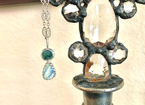 Australian Boulder Opal and Blue Tourmaline Necklace