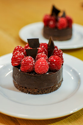 Your favourite chocolate tart with raspberries