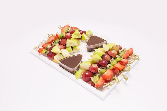 Seasonal fruit skewer platter and chocolate