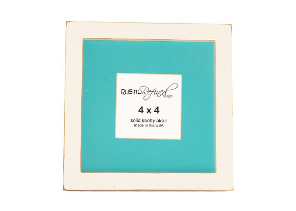 "8x8 1"" Gallery Picture Frame - White - 4x4 Teal Matte"