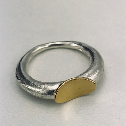 Gold Oval and Sand Cast Ring