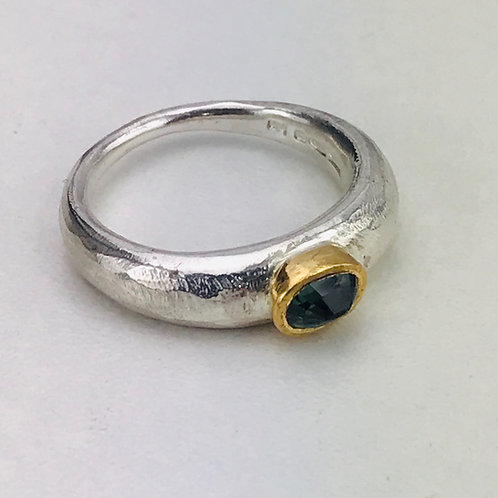 Green Sapphire sand cast ring- one of a kind