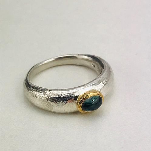 Paraiba Green Tourmaline sand cast ring