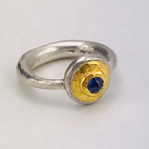 Sapphire sand cast ring- one of a kind
