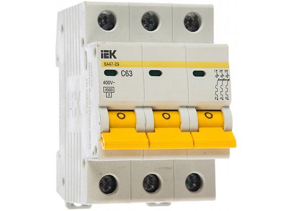 Автоматический 3-полюсный выключатель IEK 3п C 63А ВА 47-29 4.5кА