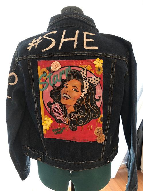 #SHE Custom Denim Jacket (sunflower white)