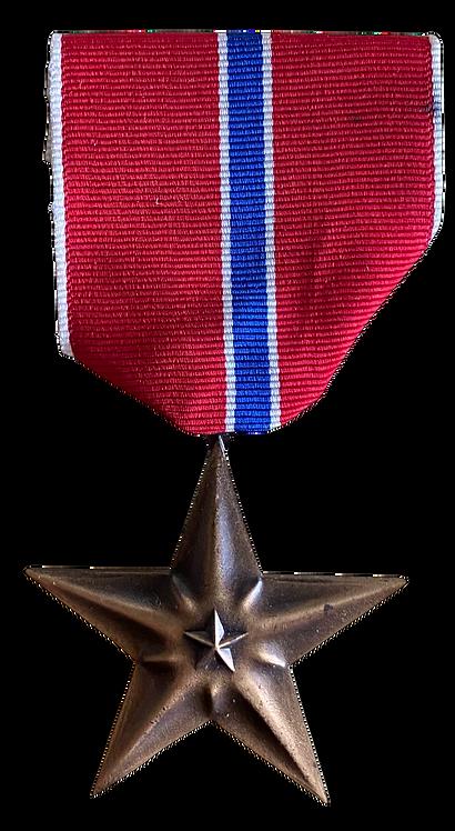 Bronze Star Medal i original eske med bånstripe og pin