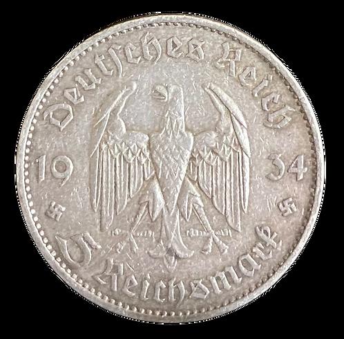 5 Reichsmark 1934 Third Reich kv.1
