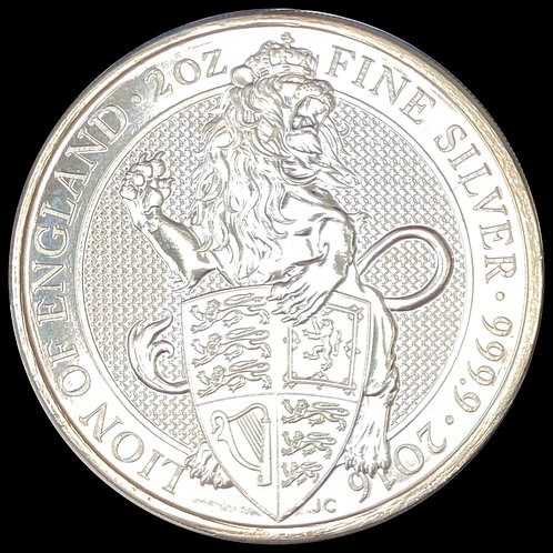 2 oz Silver Lion of England 2016