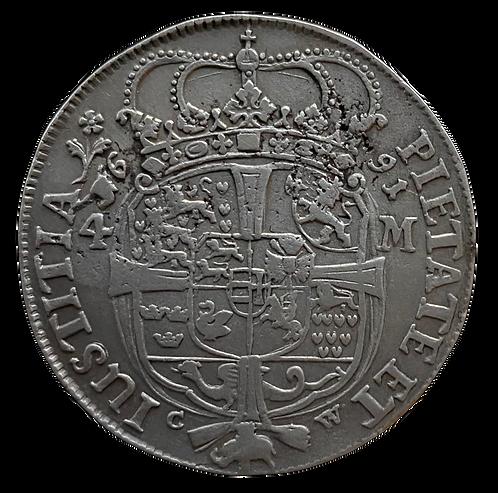 4 Mark/1 Krone 1691 Danmark Kv.1  SOLGT