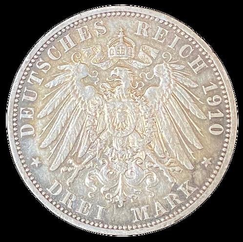 3 Mark 1910 A Deutsches Reich kv. 1+