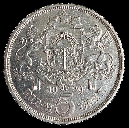 5 Lati 1929  Latvia Kv.1+