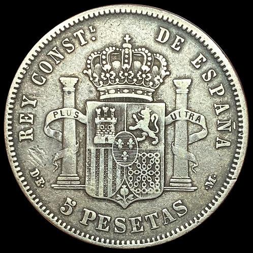 5 Pesetas 1877 Spain Kv.1/1+