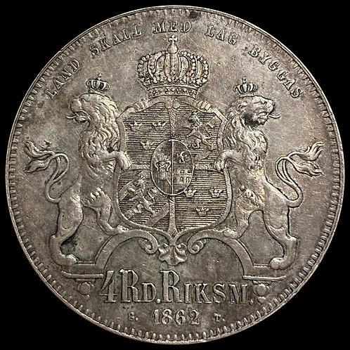 4 Riksdaler Riksmynt 1862 Sverige kv. 1+ SOLGT