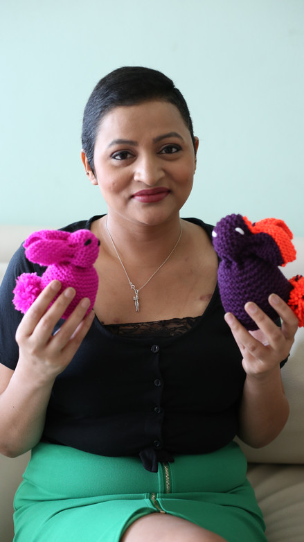 Rekha - with her knitted bunny