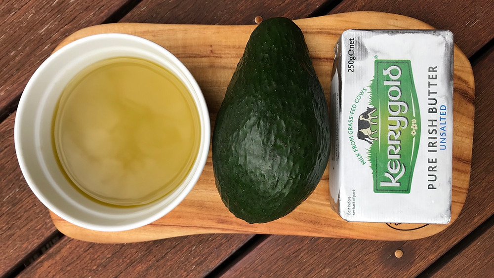 Healthy fats: olive oil, avocado and grass-fed butter