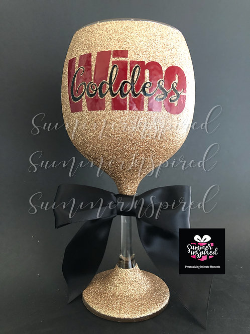 Wine Goddess Glitter Wine Glass