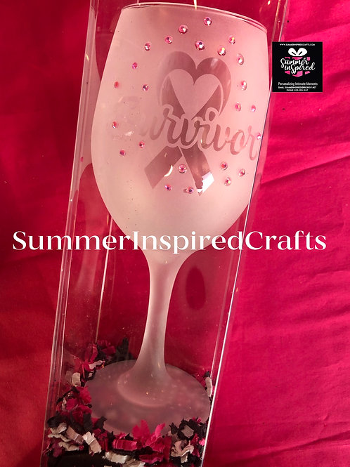 Frosted Wine Glass - Breast Cancer Survivor