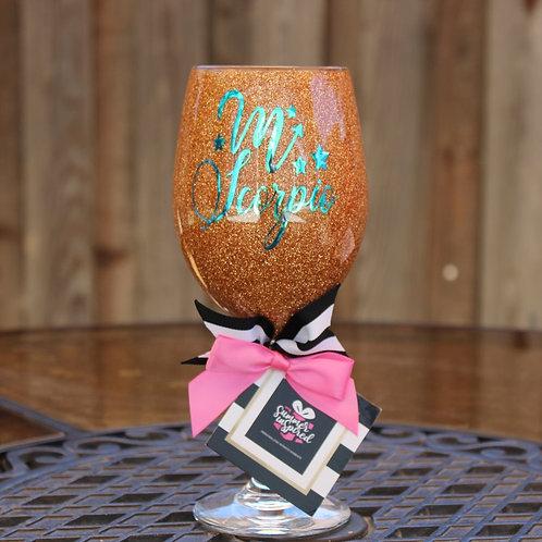 Handcrafted Zodiac Designed Glitter Wine Glass -SCORPIO
