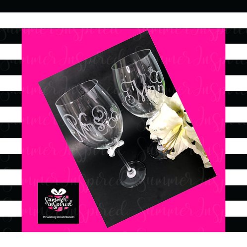 Customized - Classy Etched Wine Glasses - Wedding - Bridal - Anniversary