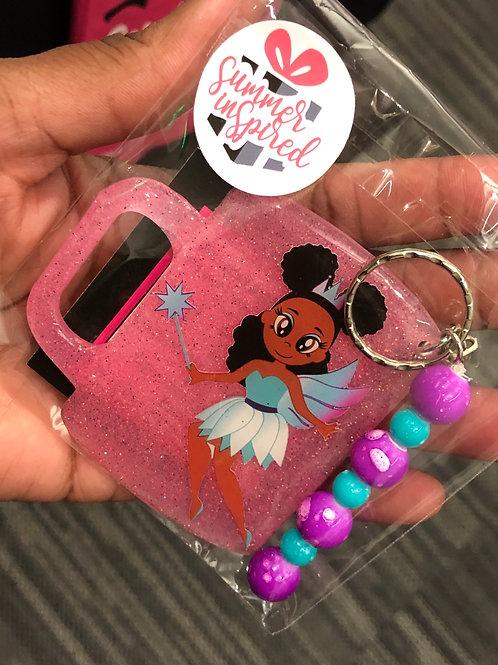 Chocolate Fairy Pink Glitter Mug Keychain