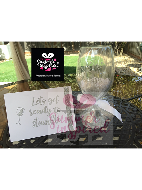 Custom Glitter Wine Glass and Matching Card Set