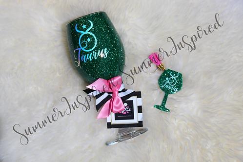 Handcrafted Zodiac Designed Glitter Wine Glass & Keychain