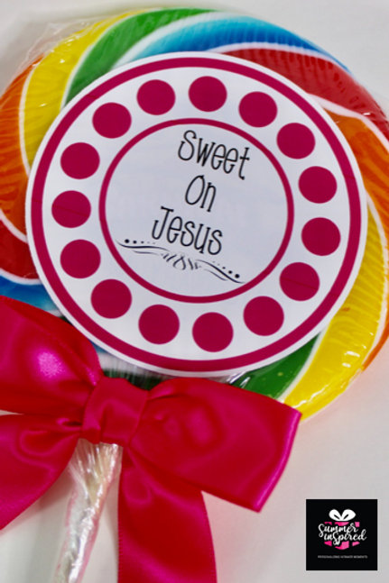 10 Jumbo Size Lollipops - Customized Labels Included